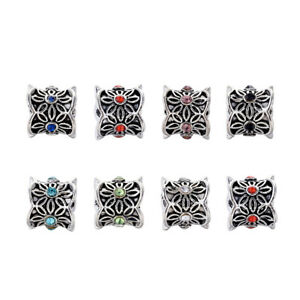 50pcs Tibetan Alloy Rhinestone European Beads Large Hole Charms Column 9x10mm