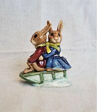 "Royal Doulton Bunnykins Billie & Buntie, ""Sleigh Ride"" Figurines 1972 / England"