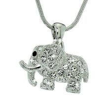 Elephant Necklace Made With Swarovski Crystal Good Luck Pendant Chain Jewelry