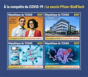 Chad 2021 MNH Medical Stamps Corona Pfizer BioNTech Vaccines 4v M/S