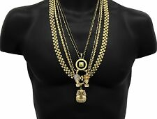 Men's 14k Gold Plated High Fashion Pharaoh Bundle 4 Pendants and 5 Chains E01