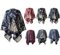 WOMEN'S SHAWL LADIES PONCHO KNITTED SHAWL AZTEC WRAP-OVER TOP CARDIGAN ONESIZE