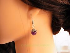 Natural Stone Amethyst Bead Earrings Handmade 925 Silver Plt Hook Earrings Gift