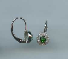 925 SILVER 1/4 CARAT 4MM ROUND CUT CREATED EMERALD & CZ HALO LEVERBACK EARRINGS