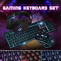 4 In 1 LED Illuminated Backlight USB Wired Gaming Keyboard Mouse Headset Set