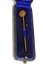 Antique 9ct Yellow Gold Blue Sapphire stone Stick Pin Mappin & Webb Old box 12j7