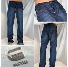 G-Star Raw Jeans 3301 36x32 Dark Selvedge Button Fly Straight Mint YGI L9-740