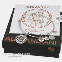 Authentic Alex and Ani Saint Anthony ii Rafaelian Silver Charm Bangle