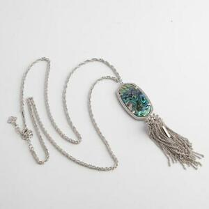 Kendra Scott Rayne Silver Necklace in Abalone Shell w Dust Bag