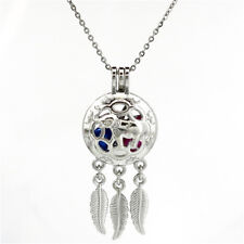 Carving Elephant Dream Catcher Floating Locket Pendant Beads Cage Necklace--K705