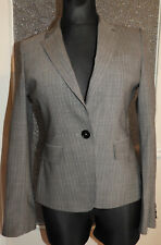 JIGSAW Women's Grey Striped Blazer Wool Blend Jacket Size 12