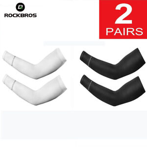 2 Pair Unisex Outdoor Sports Cycling Cooling Arm Sleeves Cover UV Sun Protection