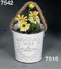 Hoff Interieur 7515 Home & Garden Blumentöpfe Eimerchen mit Kordel Metall Weiß