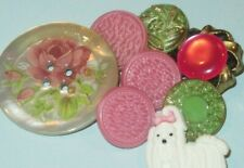 Lot of Dog Glass Painted Floral Mother of Pearl Vintage & New Buttons