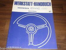 #H044 HONDA CIVIC 4WD MJ 1987 3. Generation UPDATE WERKSTATT HANDBUCH 64SD922