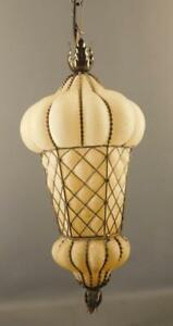 MID-CENTURY MODERN MURANO ITALY FROSTED GLASS CAGED PENDANT FIXTURE LIGHT