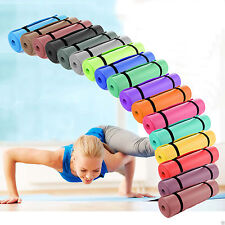 YOGA MAT EXERCISE FITNESS AEROBIC GYM PILATES CAMPING NON SLIP 15MM THICK CARRY