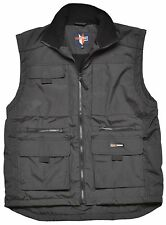 Mens Multi Pocketed Vest  Waistcoat Fleece Lined Bodywarmer Fortress Warm Work