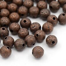 50pcs Brass Stardust Red Copper Beads Round Loose Bead Spacer Metal 8mm In DIA