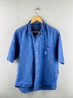 Nautica Men's Vintage Short Sleeve Button Up Logo Shirt Size M Blue