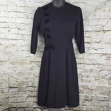 Vintage L'aiglon Black  Long Sleeve Knit Dress Union Label Modest VLV Work
