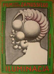 1973 Original MOVIE Poster Starowieyski Polish film Iluminacia Krzysztof Zanussi