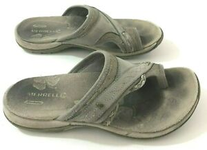 MERRELL Hollyleaf Sandals Womens 5M Taupe Leather Toe Strap