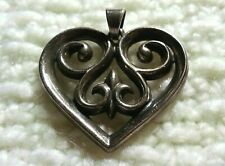 Retired James Avery Sterling Silver French Heart Scrolled Pendant/Charm 8.3gram