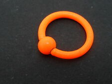 A BRIGHT ORANGE STAINLESS STEEL CLOSED BALL NOSE RING. 16GA. NEW.