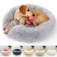 Gray Pet Cat Dog Calming Bed Soft Plush Nest Sofa Round House Kennel Cushion XL