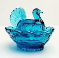 "Vtg Boyds Mini Turkey on Nest Covered Salt Dish 2.5"" - Blue Flame"