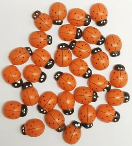 18 x 15 mm Self Adhesive Wooden Ladybird Ladybugs Craft Card Wood Toppers 30 Pcs