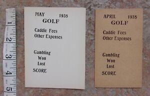 Antique Vintage 1935 Golf Caddie Fees Gambling Won Lost Score Paper Stock Menu
