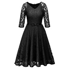 Women Retro Hollow-out Lace Dress Party Dress Elegant Half Sleeve Short Dresses