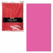 Brillo Rosa Plástico Mesa Falda flecos 4.3m Fiesta Cumpleaños Decoración Vajilla