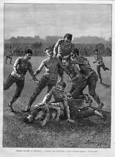 FREDERIC REMINGTON COLLEGE FOOTBALL, TACKLE BALL-DOWN, ANTIQUE VINTAGE FOOTBALL