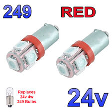 2 x Red 24v LED Side Light 249 BA9s T4W 5 SMD Bayonet Bright Bulbs HGV Truck