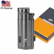 COHIBA Metal Windproof 3 Torch Cigar Cigarette Lighter Butane Jet Flame w/ Punch