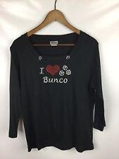 Isaacs Designs Size M Tee Shirt I Love Bunco Embellished 3/4 Slv Black T-Shirt