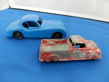 LOT OF 2 VINTAGE 1950s TOOTSIE TOYS BLUE JAGUAR XK 140 COUPE AND CHEVY TRUCK