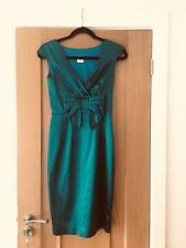 Oasis size uk 8 emerald green lined satin dress with bow