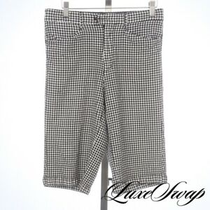 Versace Black Label Couture Silk Mix Black White Puckered Gingham Long Shorts 46