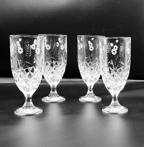 Shannon by Godinger STEPHANIE Crystal Iced Tea Water Goblets Glasses (4)