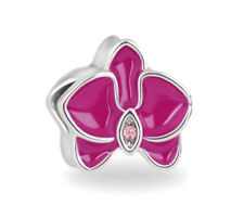 Orchid European Bead, Magenta Flower Charm, Floral, Fit European Charm Bracelet