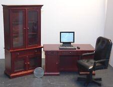 Dollhouse Miniature Office Executive Desk Set Mahogany 1:12 one inch scale F2C