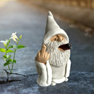 Garden Smoking White Wizard Gnome Outdoor Statue Home Yard Lawn Home Ornament UK
