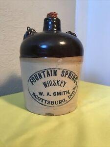 Antique Whiskey Jug Fountain Spring Whiskey W.A.Smith Scottsburg Indiana