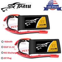 2X Tattu 450mAh 3S 11.1V 45C Lipo Battery JST Plug For Torrent 110 Baby Hawk FPV