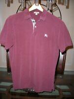 used BURBERRY BRIT burgundy pique cotton s/s polo shirt size L $175