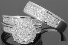 His & Her Diamond 14k White Gold Fn Engagement Wedding Band Bridal Ring Trio Set